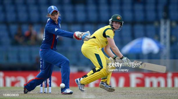 Jess Cameron of Australia hits past England wicketkeeper Sarah Taylor during the ICC Women's World Twenty20 2012 Final between Australia and England...