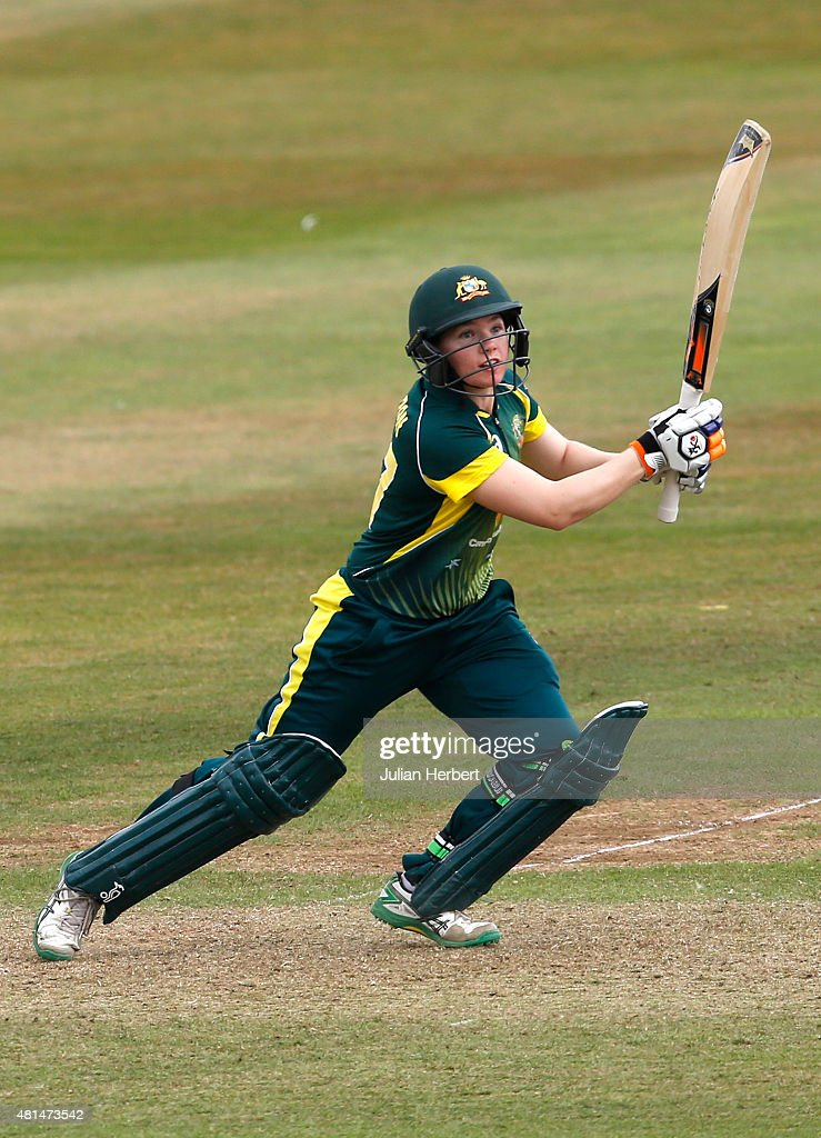 <a gi-track='captionPersonalityLinkClicked' href=/galleries/search?phrase=Jess+Cameron+-+Cricketspeler&family=editorial&specificpeople=12709381 ng-click='$event.stopPropagation()'>Jess Cameron</a> of Australia scores runs during the 1st Royal London ODI of the Women's Ashes Series between England Women v Australia Women at The County Ground on July 21, 2015 in Taunton, England.