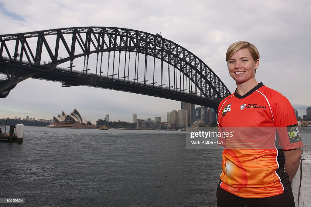 Jess Cameron of the Perth Scorchers poses during the Women's Big Bash League season launch at Luna Park on July 10, 2015 in Sydney, Australia.