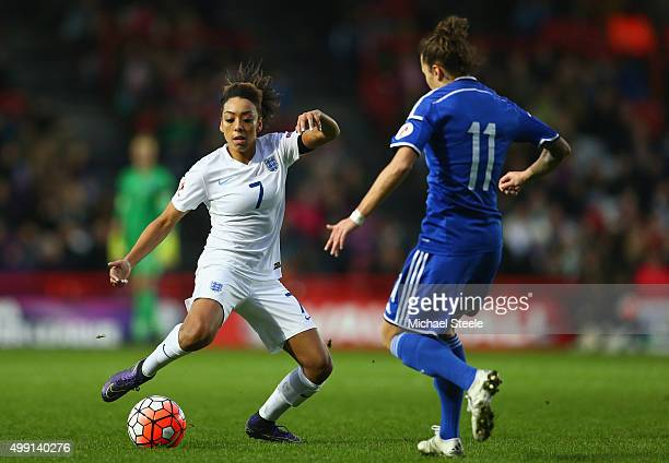 Jess Clarke of England tracked by Lidija Kulis of Bosnia and Herzegovina during the UEFA Women's Euro 2017 Qualifier match between England and Bosnia...