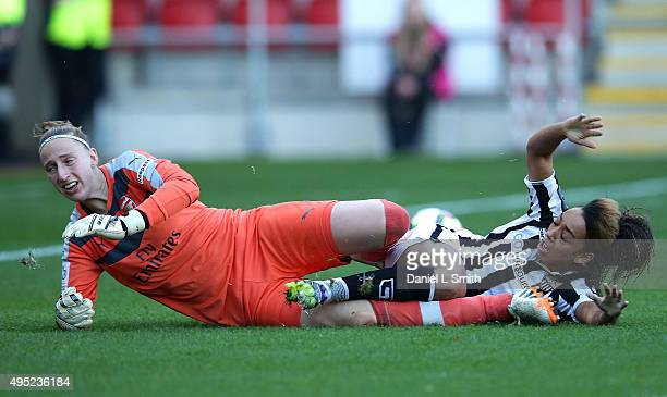 Jess Clarke of Notts Ladies County FC attempts to slide the ball in to goal during the WSL Continental Cup Final between Arsenal Ladies FC and Notts...