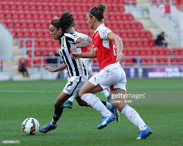 Jess Clarke of Notts Ladies County FC maintains control of the ball during the WSL Continental Cup Final between Arsenal Ladies FC and Notts County...