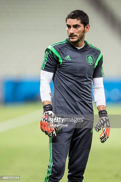 Jesús Corona goalkeeper of Mexico looks on during a training session at Castelao Stadium on June 16 2014 in Fortaleza Brazil