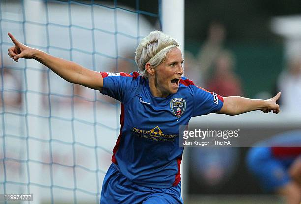 Jess Fishlock of Bristol Academy celebrates the equalizer during the FA Women's Super League match between Bristol Academy Women's FC and Birmingham...