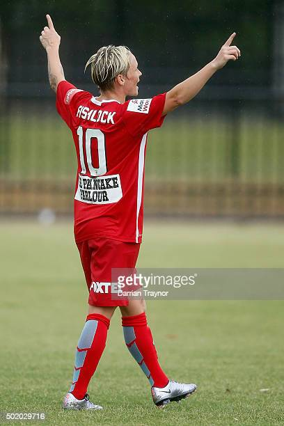 Jess Fishlock of Melbourne City celebrates a goal during the round 10 WLeague match between Melbourne City FC and Perth Glory at CBSmith Reserve on...