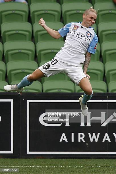 Jess Fishlock of Melbourne City celebrates a goal during the round eight WLeague match between Melbourne City and Perth at AAMI Park on December 27...