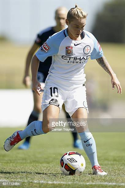Jess Fishlock of Melbourne City controls the ball during the round 12 WLeague match between Melbourne Victory and Melbourne City FC at Epping Stadium...