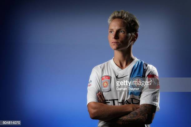 Jess Fishlock of Melbourne City poses for a photo during a Melbourne City WLeague portrait session on January 14 2016 in Melbourne Australia