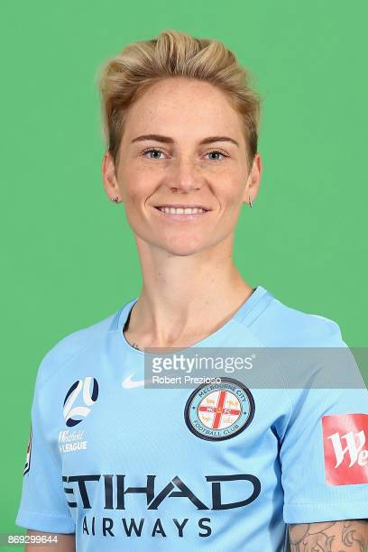 Jess Fishlock poses during the Melbourne City WLeague headshots session on November 2 2017 in Melbourne Australia