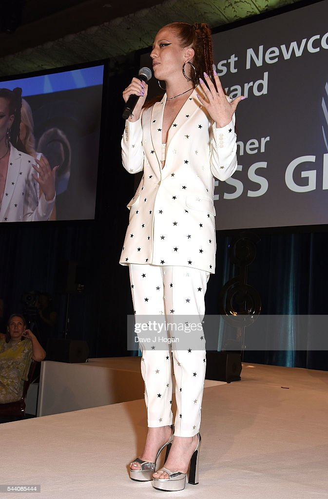 Jess Glynne accepts the Best Newcomer Award during the Nordoff Robbins O2 Silver Clef Awards on July 1, 2016 in London, United Kingdom.