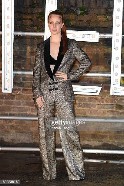 Jess Glynne arrives for the Stella McCartney Resort collection and menswear launch at Abbey Road Studios on November 10 2016 in London England