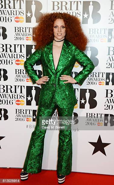 Jess Glynne arrives the BRIT Awards 2016 at The O2 Arena on February 24 2016 in London England