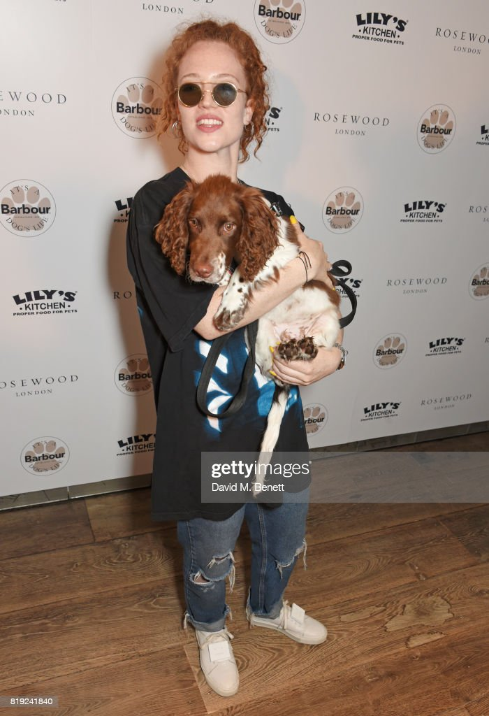Jess Glynne attends the launch of Rosewood's Canine Luxury Experience and the Barbour Dogs Loyalty Scheme hosted by Rosewood London and Barbour at Rosewood London on July 20, 2017 in London, England.