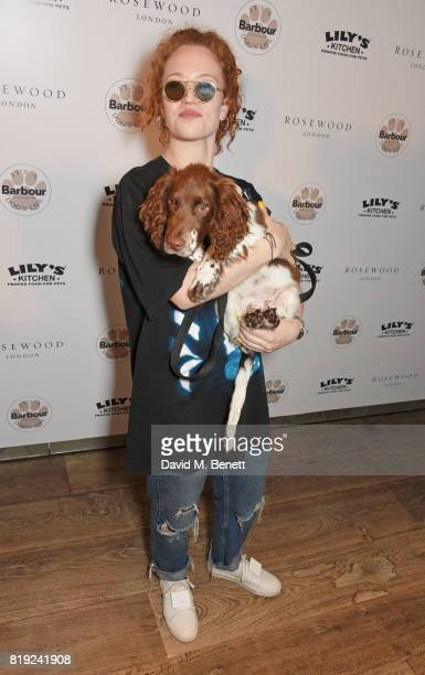 Jess Glynne attends the launch of Rosewood's Canine Luxury Experience hosted by Rosewood London and Barbour at Rosewood London on July 20 2017 in...