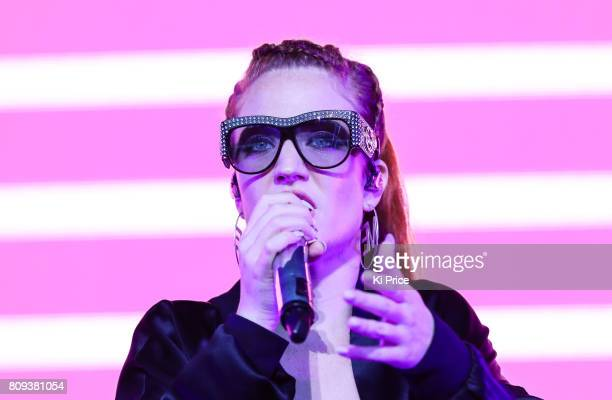 Jess Glynne performs at the Henley Festival on July 5 2017 in HenleyonThames England
