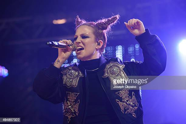 Jess Glynne performs at the KISS FM Haunted House Party at SSE Arena on October 29 2015 in London England