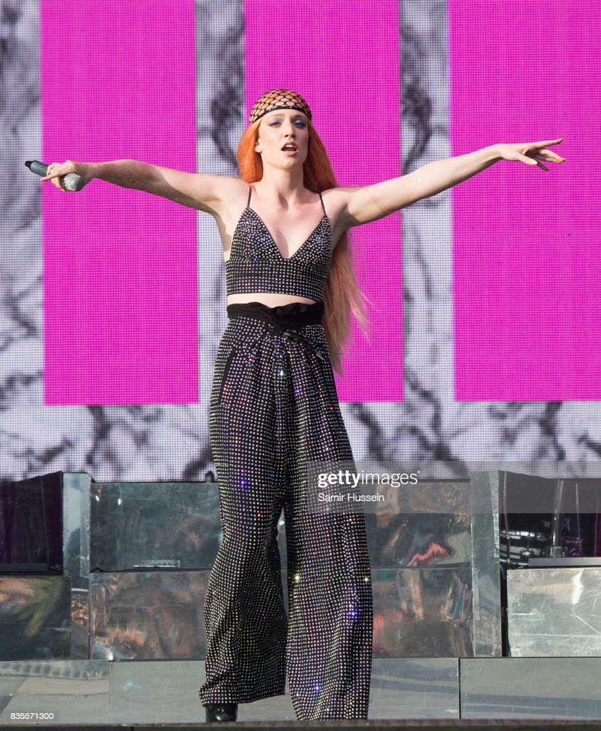 Jess Glynne performs live on stage during V Festival 2017 at Hylands Park on August 19, 2017 in Chelmsford, England.