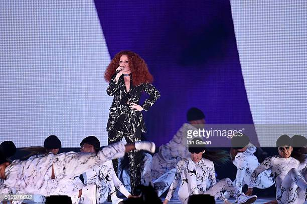 Jess Glynne performs on stage at the BRIT Awards 2016 at The O2 Arena on February 24 2016 in London England