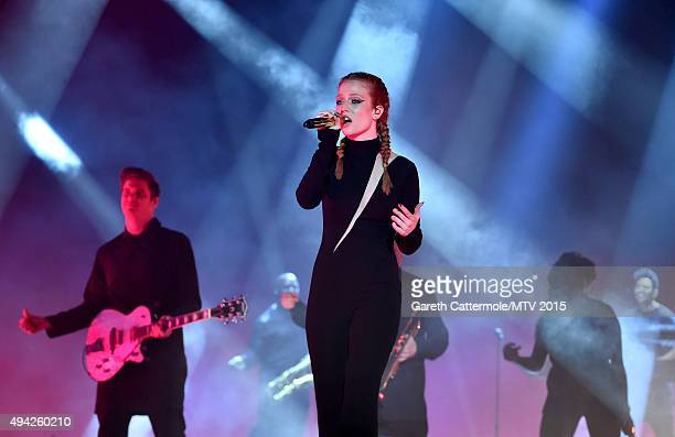 Jess Glynne performs on stage during the MTV EMA's 2015 at the Mediolanum Forum on October 25 2015 in Milan Italy