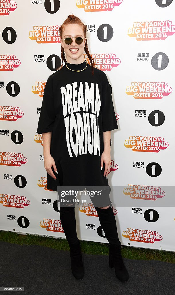 Jess Glynne poses for photos during day 1 of BBC Radio 1's Big Weekend at Powderham Castle on May 28 2016 in Exeter England