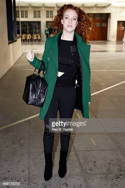 Jess Glynne seen arriving at the BBC Radio 1 Studios on November 18 2014 in London England Photo by Alex Huckle/GC Images