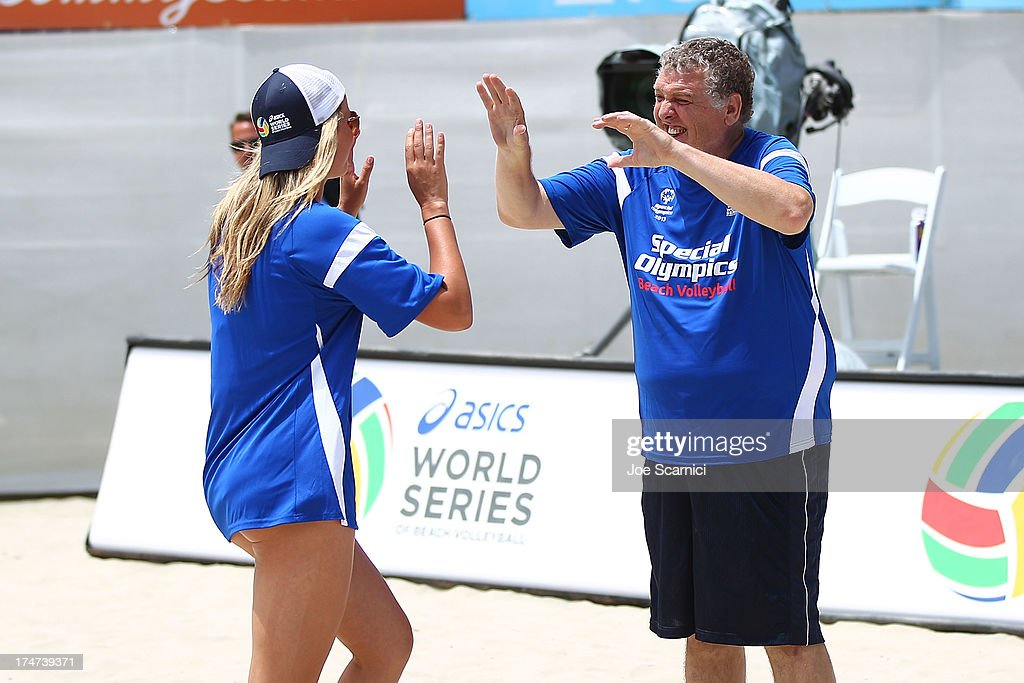 Jess Gysin of USA celebrates a point with a teammate during a Special Olympic match at the ASICS World Series Cup - Day 2 on July 28, 2013 in Long Beach, California.
