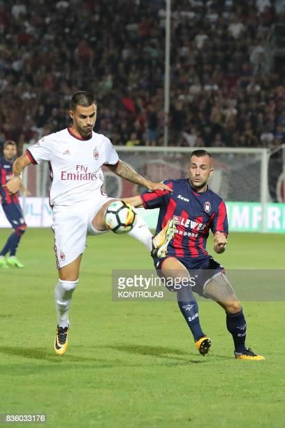 Jesús Joaquín Fernandez Sáez de la Torre striker of Milan and Bruno Martella defender of Crotone during the Serie A match between FC Crotone and AC...