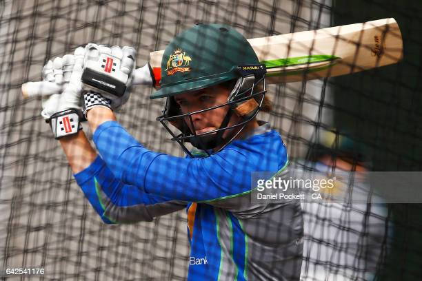 Jess Jonassen bats during a Southern Stars training session at Melbourne Cricket Ground on February 18 2017 in Melbourne Australia
