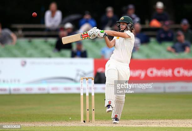 Jess Jonassen of Australia bats during day one of the Kia Women's Test of the Women's Ashes Series between England and Australia Women at The...
