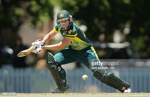 Jess Jonassen of Australia bats during game four of the International One Day series between Australia and West Indies on November 18 2014 in Bowral...