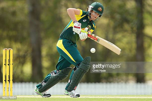 Jess Jonassen of Australia bats during the women's international series One Day match between the Australian Southern Stars and Pakistan at Redlands...