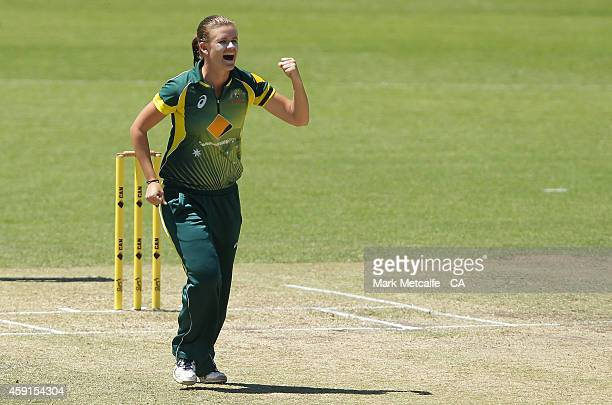 Jess Jonassen of Australia celebrates taking the wicket of Kycia Knight of West Indies during game four of the International One Day series between...