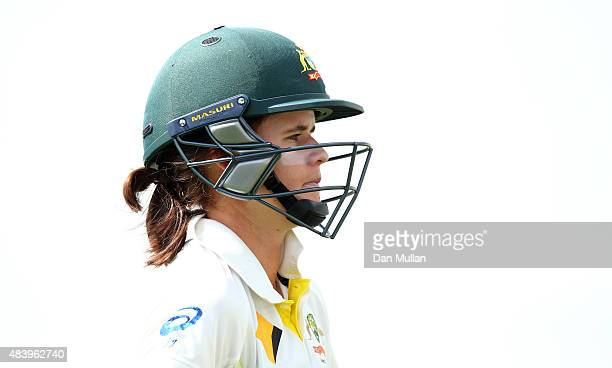 Jess Jonassen of Australia leaves the field after being caught by Lydia Greenway of England during day four of the Kia Women's Test of the Women's...