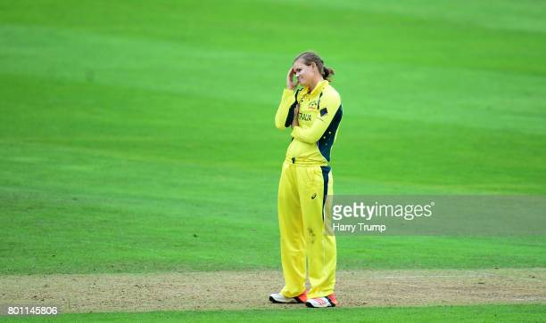 Jess Jonassen of Australia reacts during the ICC Women's World Cup 2017 match between Australia and West Indies at The Cooper Associates County...
