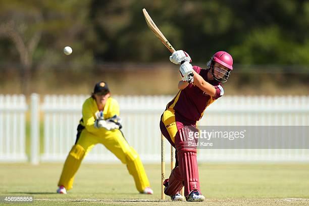 Jess Jonassen of Queensland bats during the WT20 match between Western Australia and Queensland at Murdoch University on October 10 2014 in Perth...