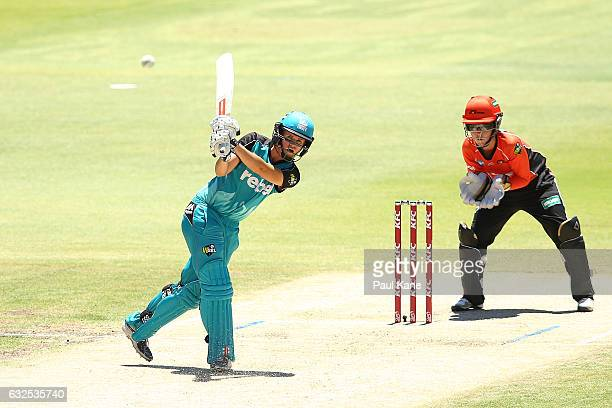 Jess Jonassen of the Heat bats during the Women's Big Bash League match between the Perth Scorchers and the Brisbane Heat at the WACA on January 24...