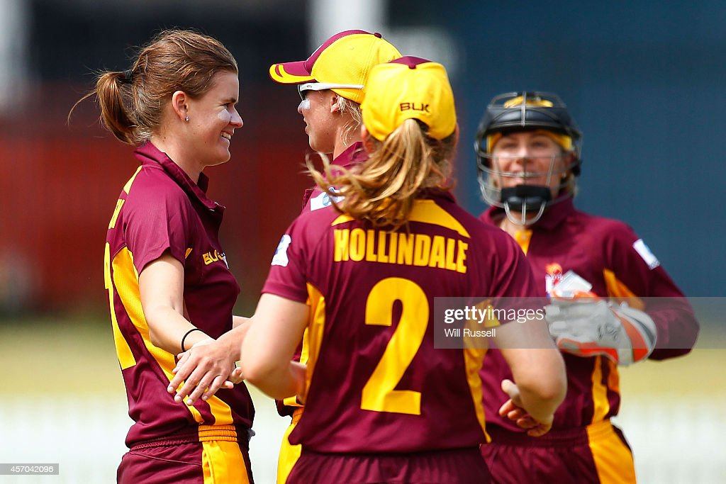 Jess Jonassen of The Queensland Fire celebrates after taking the wicket of Chloe Piparo of The Western Fury during the WNCL match between Western...