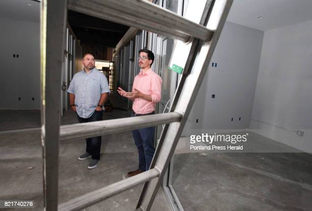 Jess Knox left founder of Maine Startup and Create Week and partner Mike Sobol show off the space for their new business venture Venture Hall which...