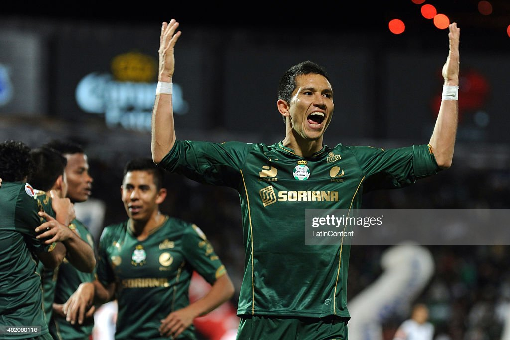 <a gi-track='captionPersonalityLinkClicked' href=/galleries/search?phrase=Jes%C3%BAs+Molina&family=editorial&specificpeople=8062312 ng-click='$event.stopPropagation()'>Jesús Molina</a> celebrates with teammates after scoring the third goal of his team during a match between Santos Laguna and Monterrey as part of 3rd round Clausura 2015 Liga MX at Corona Stadium on January 23, 2015 in Torreon, Mexico.
