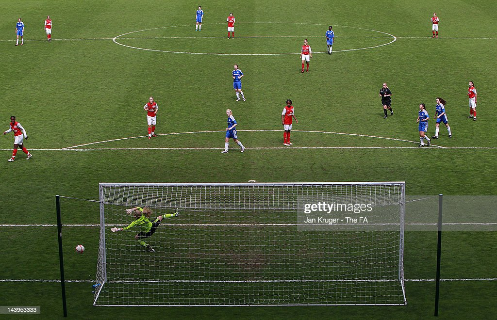 Jess Myers, Goalkeeper of Chelsea saves a shot at goal during the FA Girls' Youth Cup U17s Centre of Excellence Final between Arsenal and Chelsea at Stadium MK on May 6, 2012 in Milton Keynes, England.