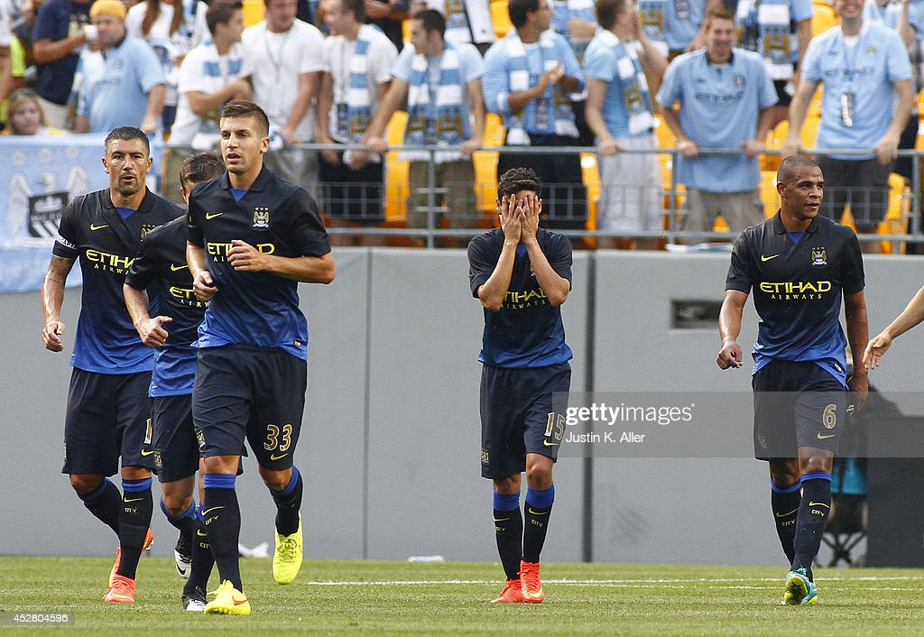 Jess Navas #15 of Manchester City reacts after scoring a goal in the first half against AC Milan during International Champions Cup 2014 at Heinz Field on July 27, 2014 in Pittsburgh, Pennsylvania.