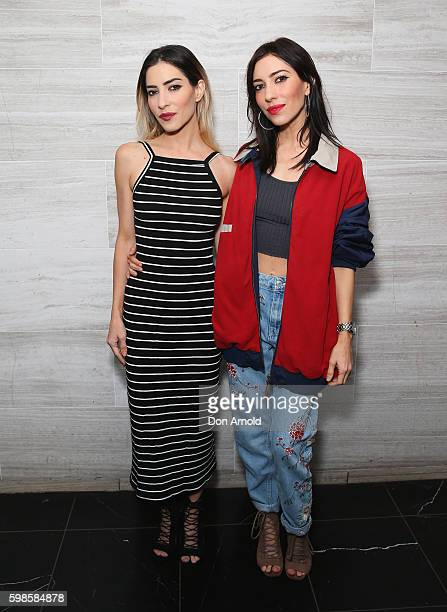 Jess Origliasso and Lisa Origliasso from The Veronicas pose during the launch of Fratelli Famous at Westfield Sydney on September 2 2016 in Sydney...
