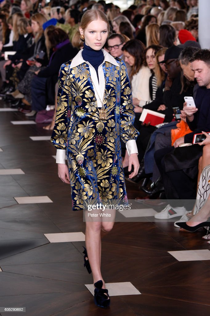 Jess PW walks the runway at the Tory Burch FW17 Show during New York Fashion Week at at The Whitney Museum of American Art on February 14, 2017 in New York City.