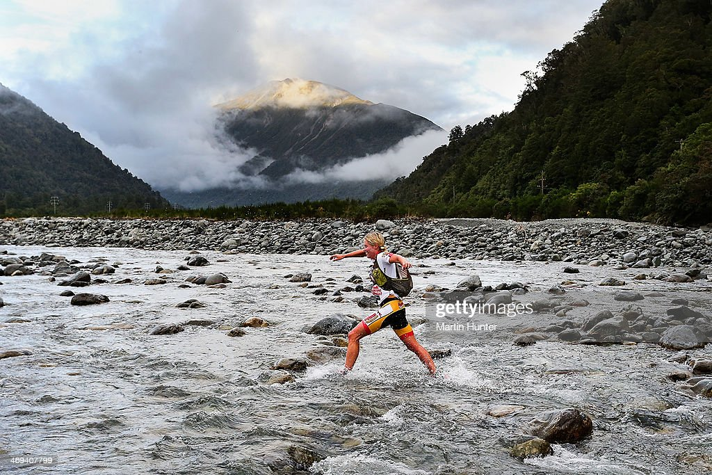 Jess Simson of Wanaka competes in the one day individual event during the Speights Coast to Coast on February 15, 2014 in Christchurch, New Zealand.