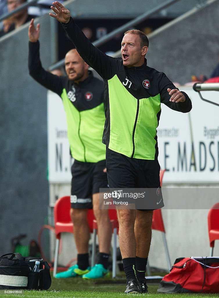 Jess Thorup, head coach of FC Midtjylland and Kristian Bach Bak, assistant coach of FC Midtjylland shows frustration during the Europa League Qualifier match between FC Midtjylland and FK Suduva at MCH Arena on June 30, 2016 in Herning, Denmark.