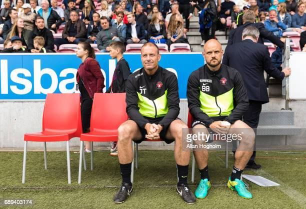 Jess Thorup head coach of FC Midtjylland and Kristian Bach Bak assistant coach of FC Midtjylland prior to the Danish Alka Superliga match between FC...