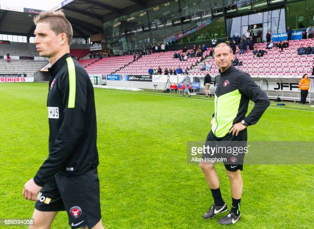 Jess Thorup head coach of FC Midtjylland looks dejected after the Danish Alka Superliga match between FC Midtjylland and Lyngby BK at MCH Arena on...