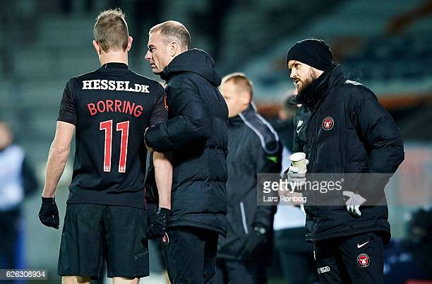 Jess Thorup head coach of FC Midtjylland speaks to Jonas Borring of FC Midtjylland during the Danish Alka Superliga match between FC Midtjylland and...