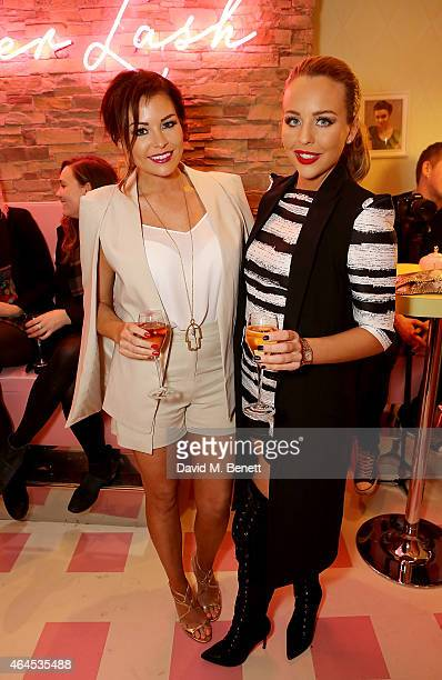 Jess Wright and Lydia Bright attend the launch of 'Curl's Best Friend' a popup curl and cocktail parlour on Greek Street London by Benefit Cosmetics...