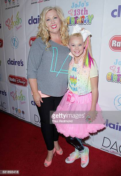 Jessalynn Siwa and dancer JoJo Siwa on the red carpet at JoJo Siwa from 'Dance Moms' 13th Birthday 80's Dance Party at Madame Tussauds on May 16 2016...